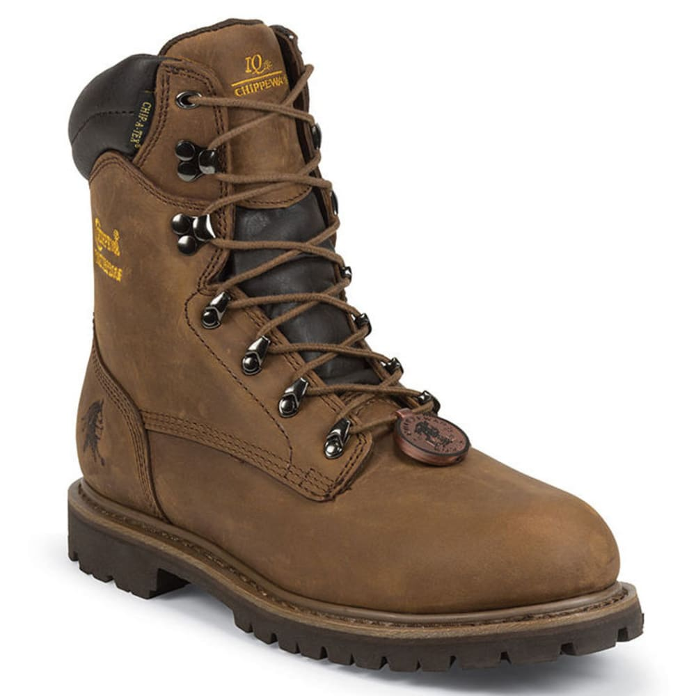 CHIPPEWA Men's 8 in. Steel-Toe Waterproof Insulated Lace-up Boots, Extra Wide - BROWN