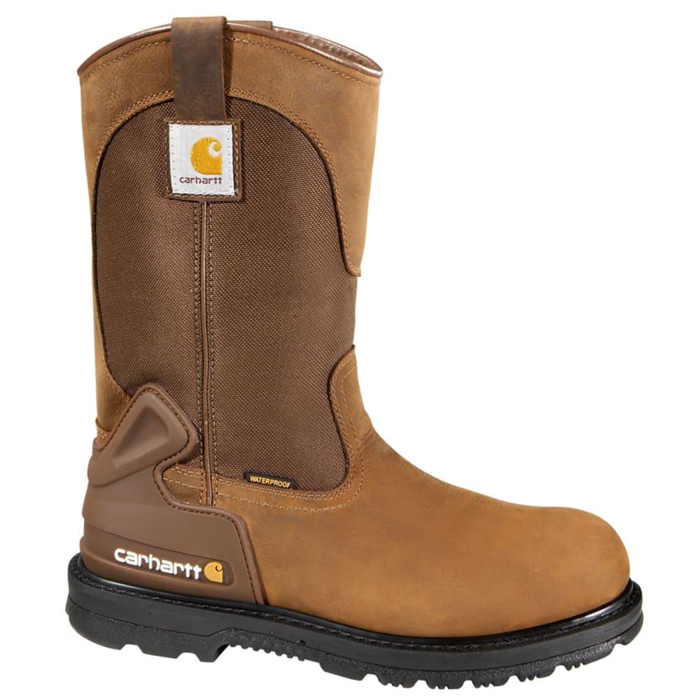 CARHARTT Men's 11-Inch Core Waterproof Steel Toe Wellington - BROWN - MEDIUM