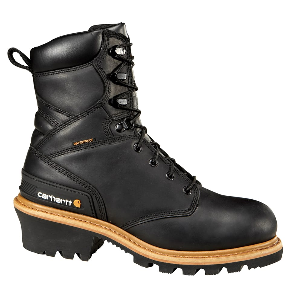 CARHARTT Men's 8-Inch Woodworks Waterproof Steel Toe Climbing Boot - BLACK