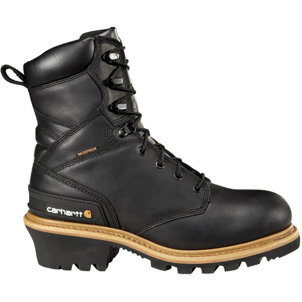 CARHARTT Men's 8-Inch Waterproof ST Logger Boots, Wide - BLACK
