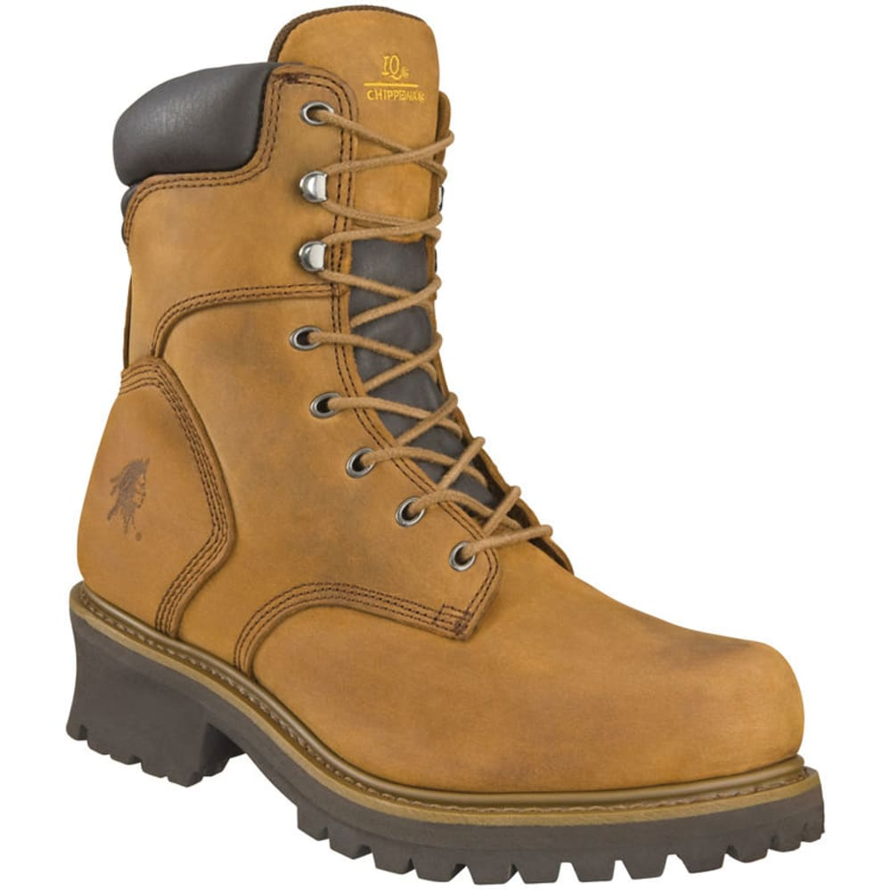 Chippewa Men's 8 In. Oblique Steel-Toe Logger Boots, Tough Bark - Brown, 7.5