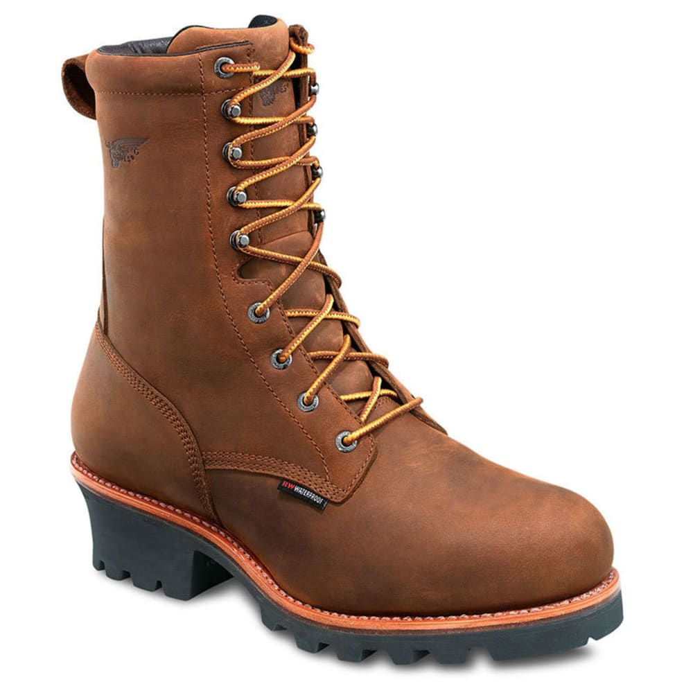 RED WING Men's 9-Inch Waterproof Insulated Logger Boots, Wide - BROWN
