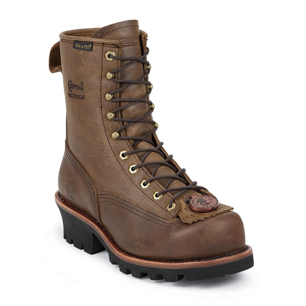 CHIPPEWA Men's 8 in. Waterproof Steel Toe EH Lace-To-Toe Logger Boots - BAY APACHE