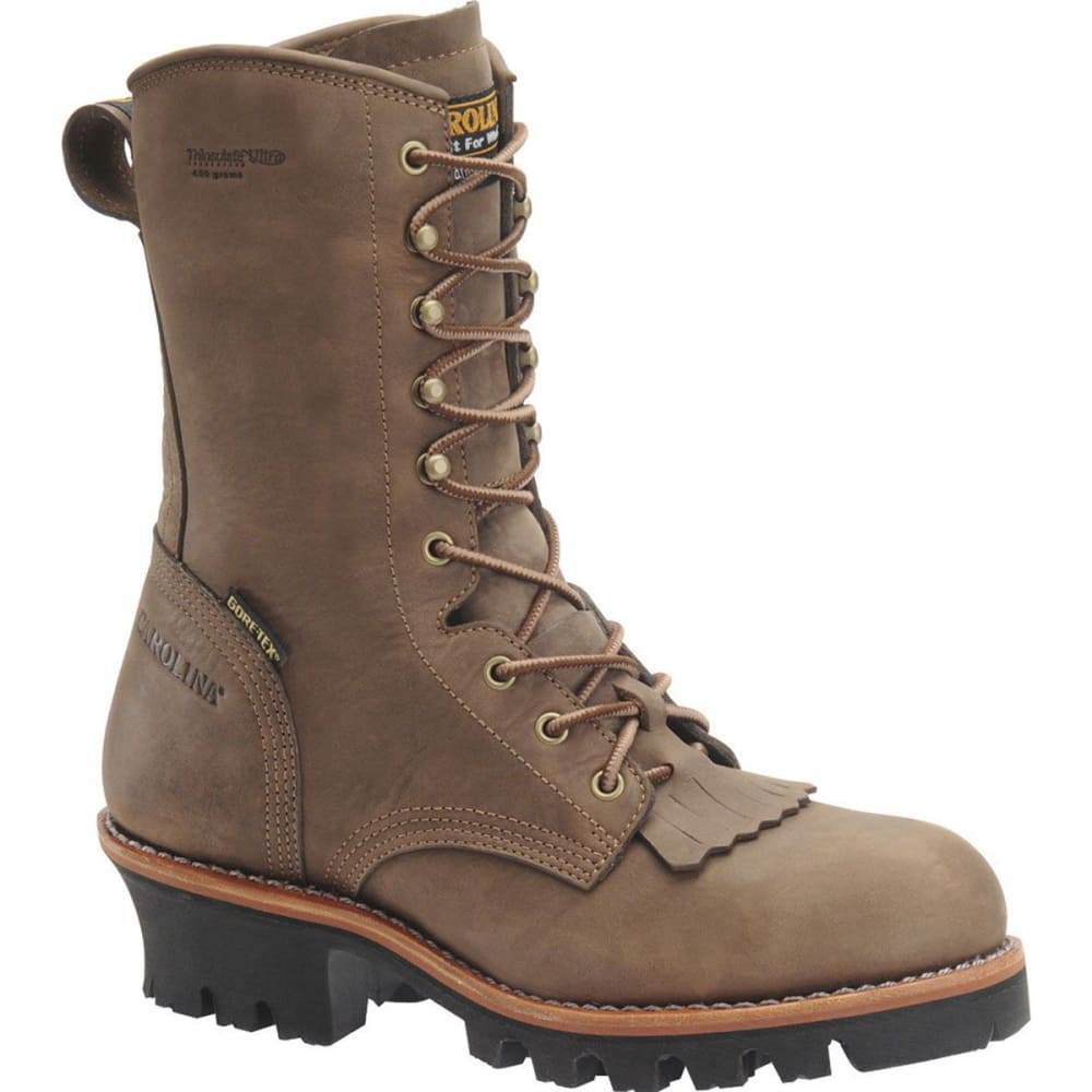 "CAROLINA Men's CA7519 10"" Steel Toe 400G Insulated Gore-Tex Logger Work Boots, Cork Harness - BROWN"
