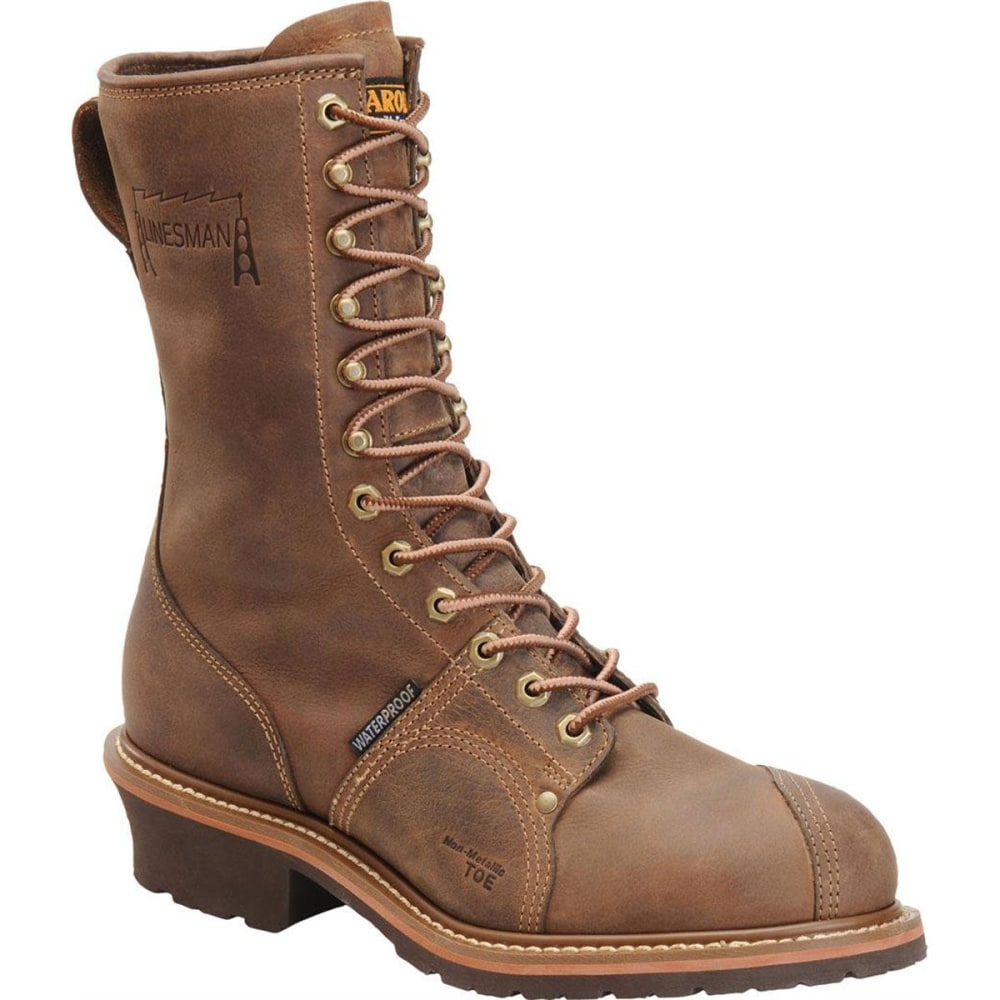 """CAROLINA Men's CA1904 10"""" Composite Toe Linesman Waterproof Work Boots, Cork Harness - BROWN"""
