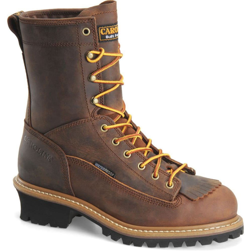 "CAROLINA Men's CA9824 8"" Steel Toe Lace Logger Waterproof Work Boots, Copper Crazy Horse - BROWN"