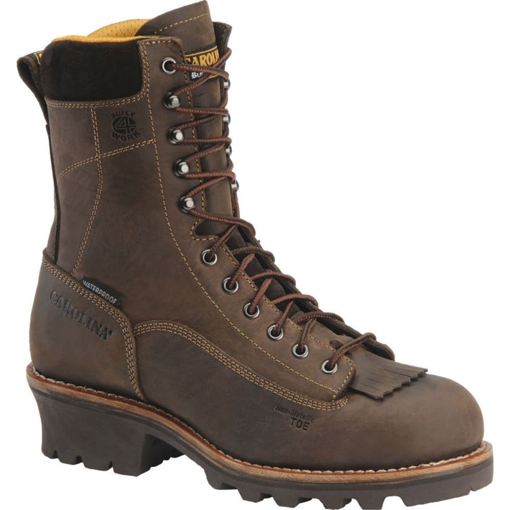 "CAROLINA Men's CA7522 Wide 8"" Composite Toe Lace Logger Waterproof Work Boots, Gaucho Crazy Horse - BROWN"