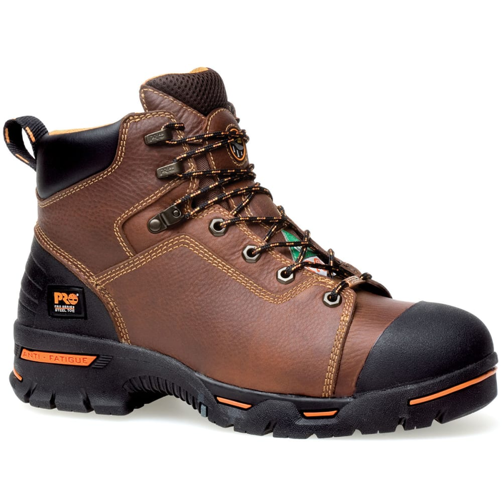 TIMBERLAND PRO Men's Endurance 6 Inch Steel Toe Boots, Wide Width - BROWN