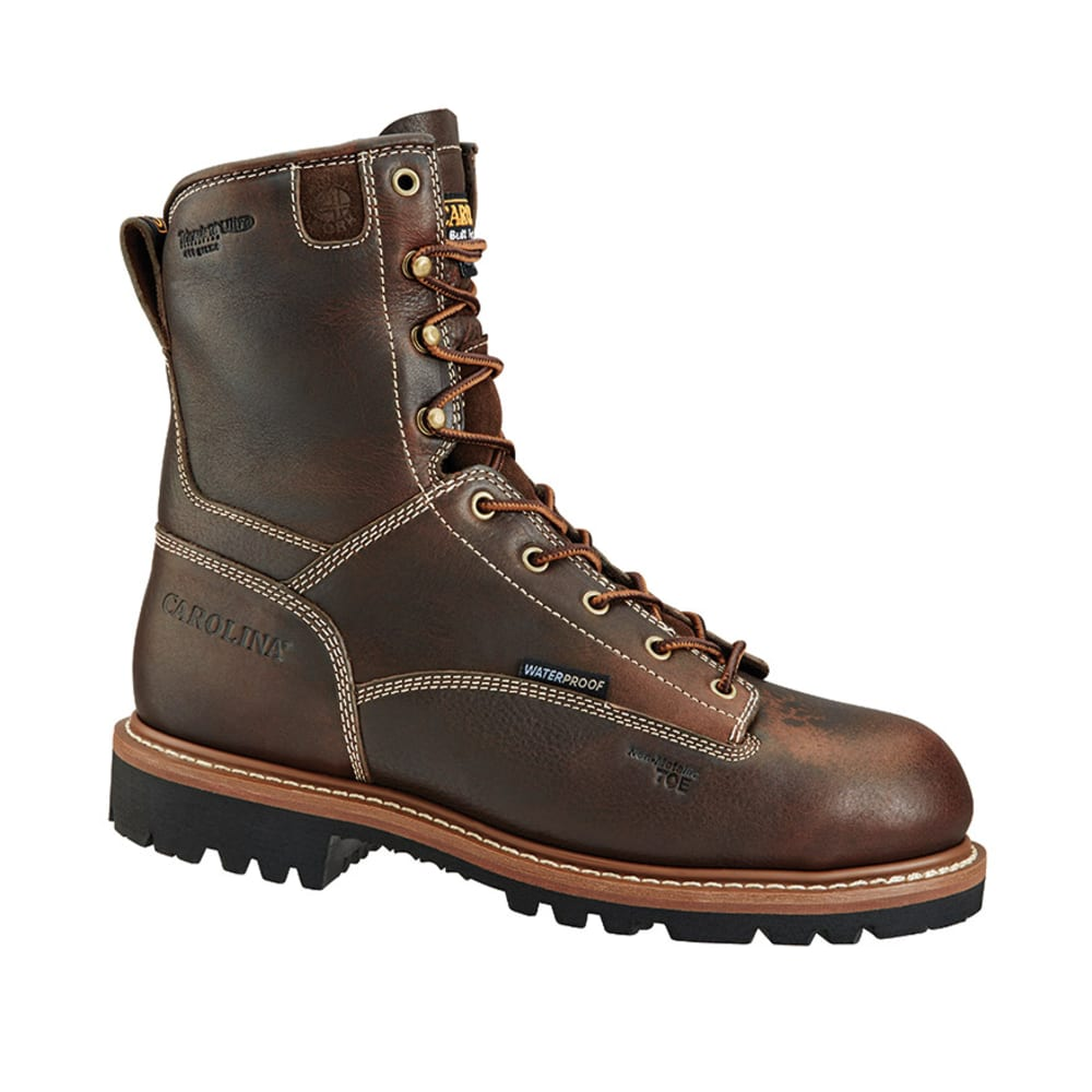CAROLINA Men's 8 in. Insulated Waterproof Work Boots, Wide Width - SADDLE BLACK COFFEE