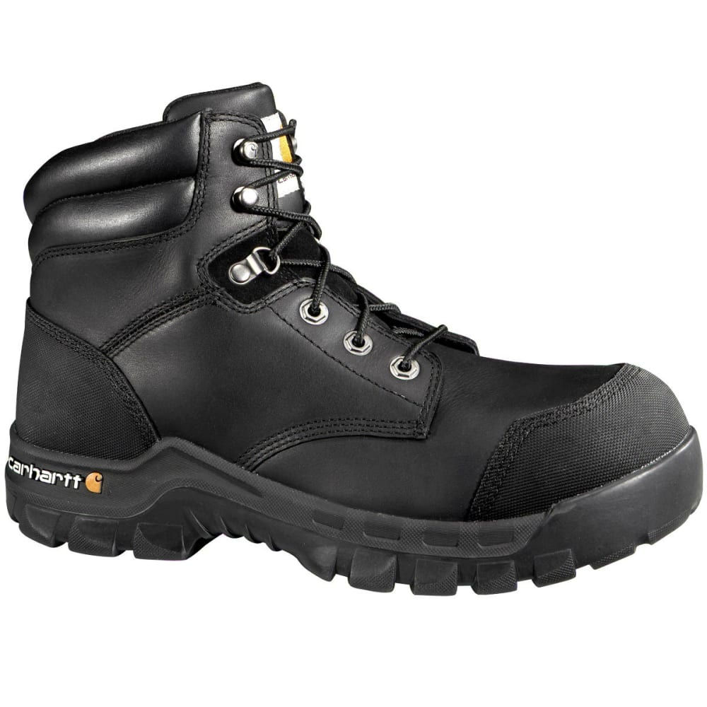 CARHARTT Men's 6-Inch Rugged Flex Waterproof Comp Toe Boots, Wide - BLACK