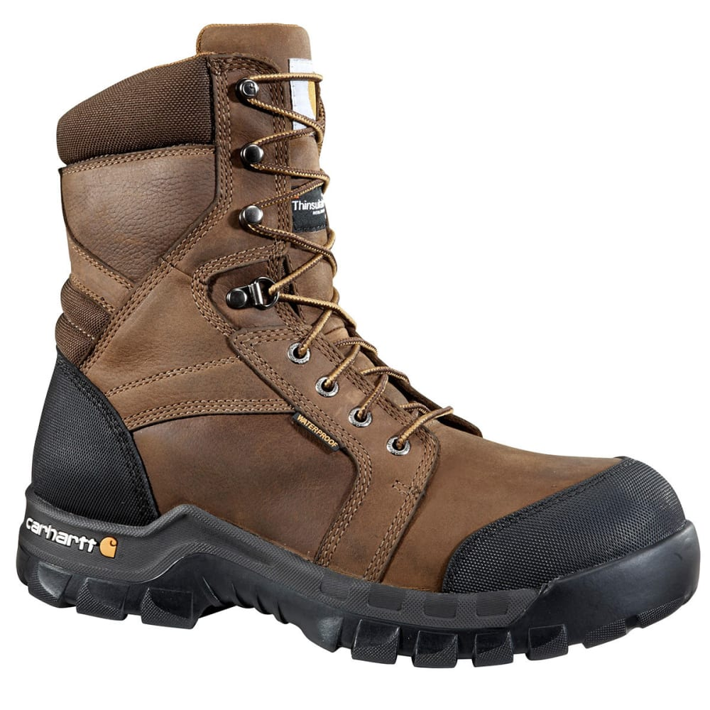 CARHARTT Men's 8-Inch Rugged Flex Insulated Work Boots, Wide - DK BROWN OIL TAN