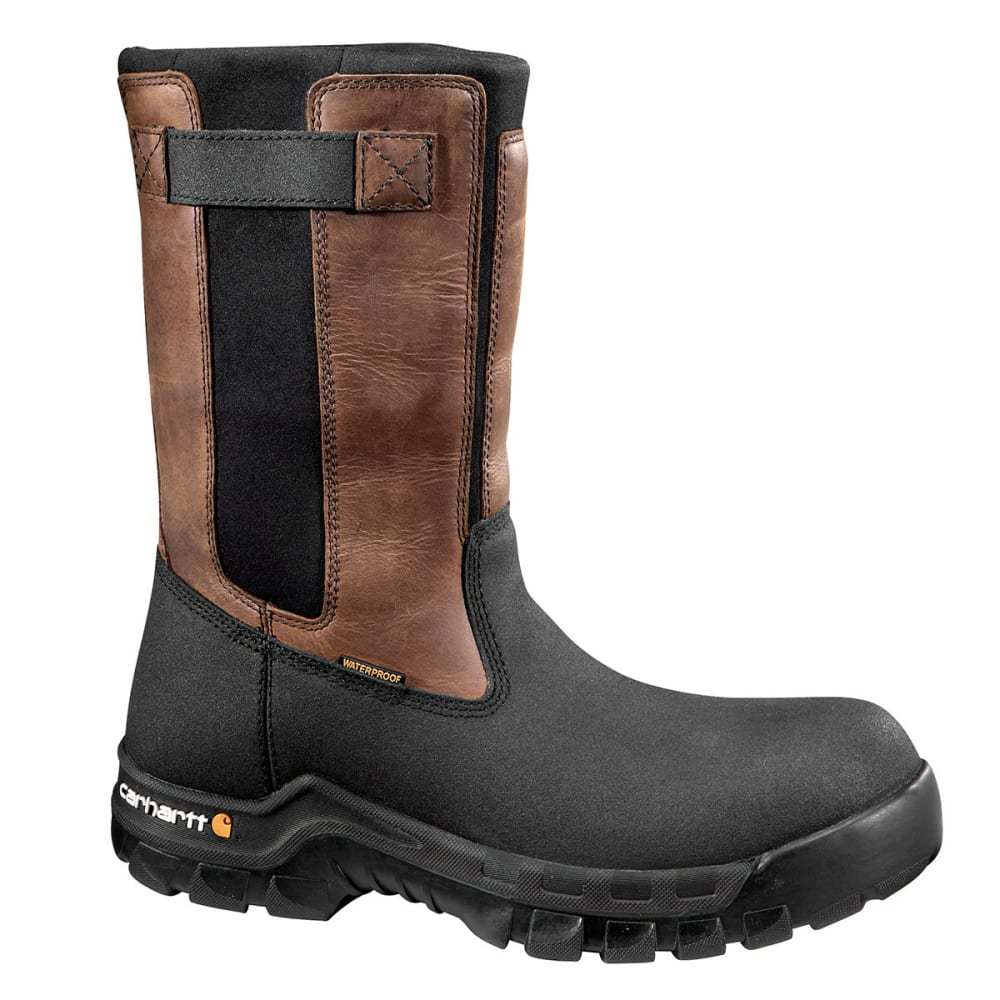 CARHARTT Men's 10-Inch Rugged Flex® Waterproof Comp Toe Pull-On Boots - BROWN OIL TAN-MEDIUM