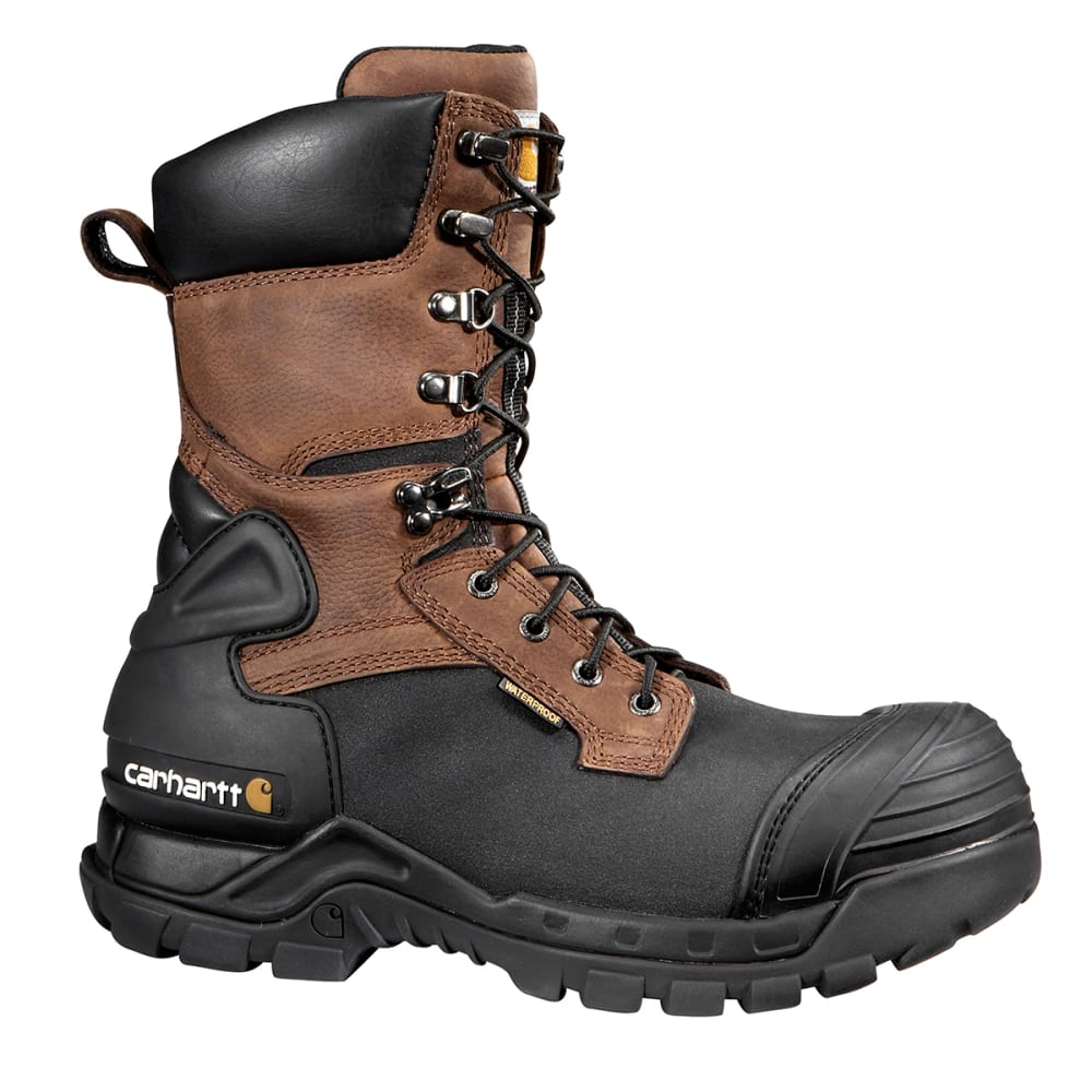 CARHARTT Men's 10-Inch Waterproof Insulated Comp Toe Pac Boots - BROWN