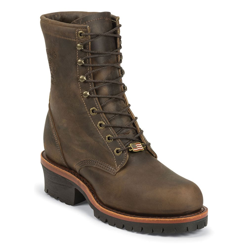 CHIPPEWA Men's 8 in. Apache Utility Steel Toe Logger Boots - BROWN