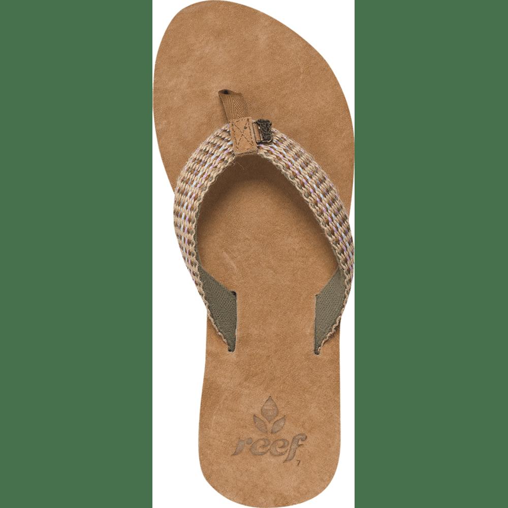 REEF Women's Gypsylove Flip-Flops, Tobacco/Coral Multi - OLIVE GREEN