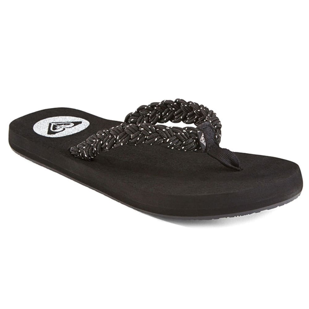 ROXY Juniors' Coastal Braided Thong Sandals - BLACK