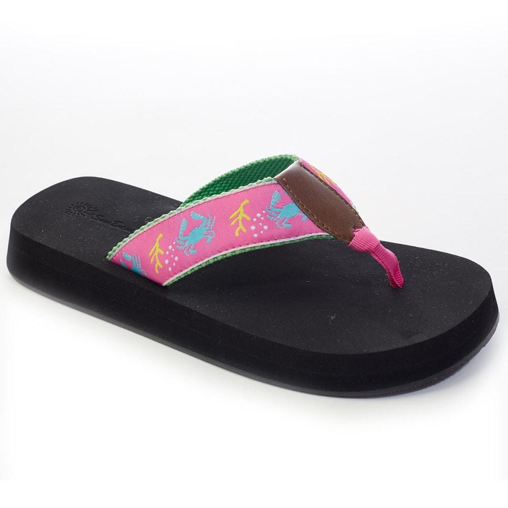 SUNDANCE Juniors' Crab Ribbon Thong Sandals - FUCHSIA
