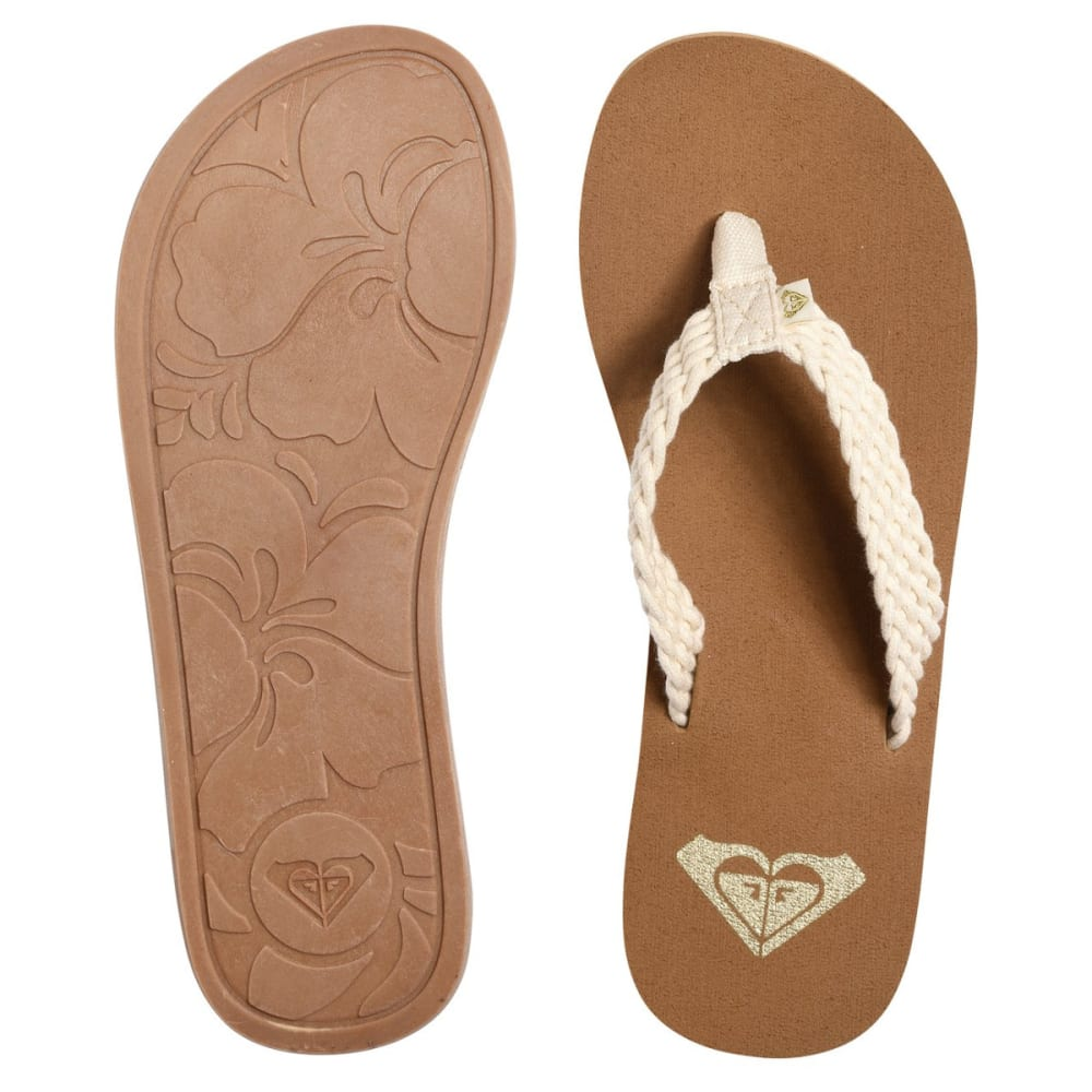 ROXY Women's Porto Flip Flops - CREAM