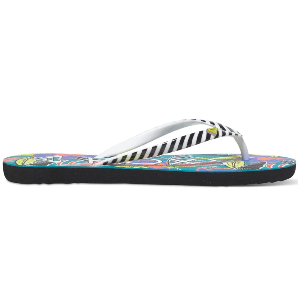 ROXY Women's Mimosa Flip Flops - GREEN/BLACK
