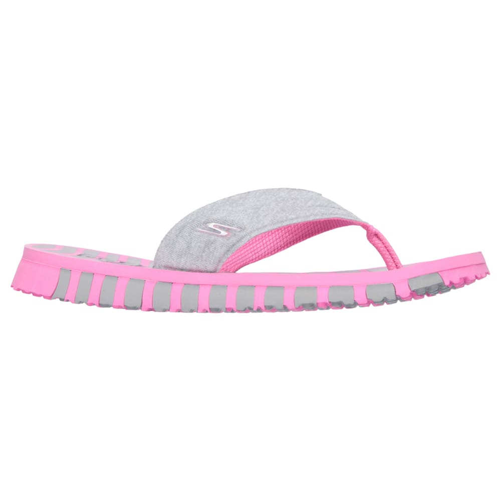 SKECHERS Women's Go Flex Vitality Flip Flops - GREY/PINK