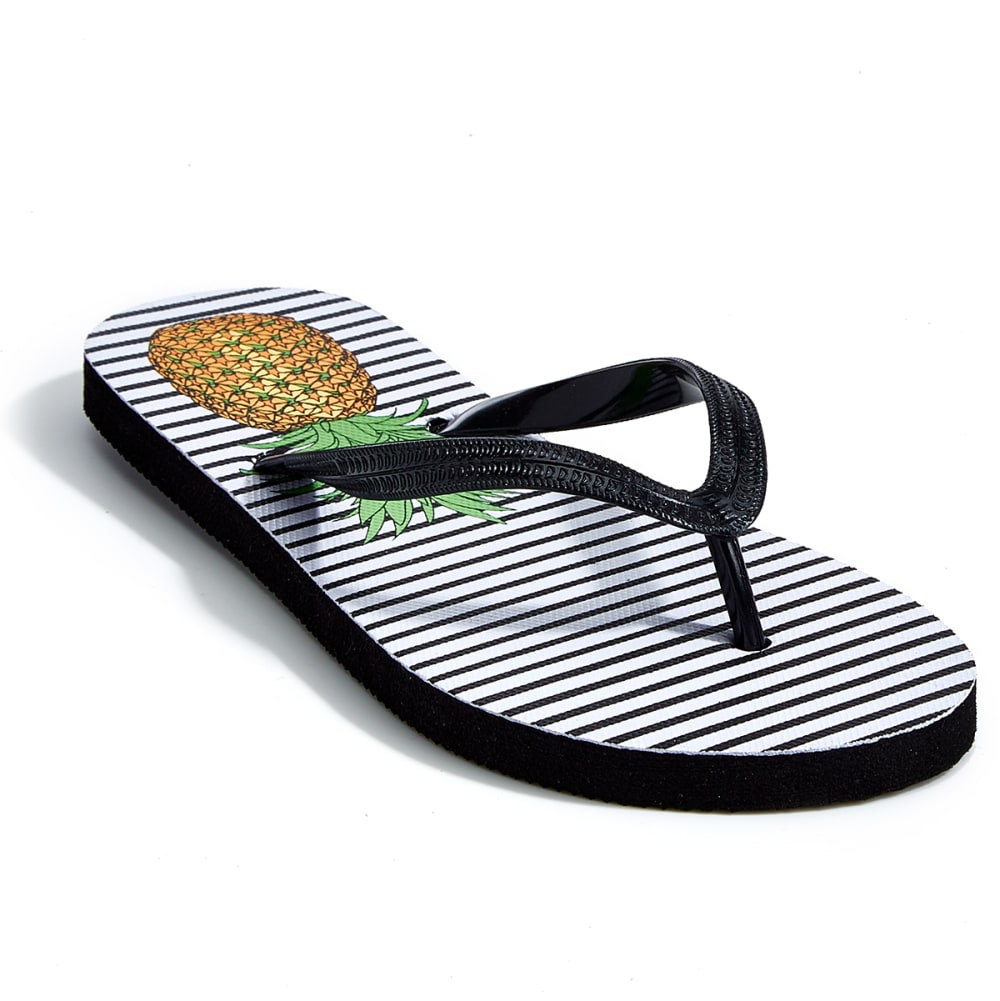 EASTMAN Women's Aquastop Printed Flip Flops - BLACK PINEAPPLES