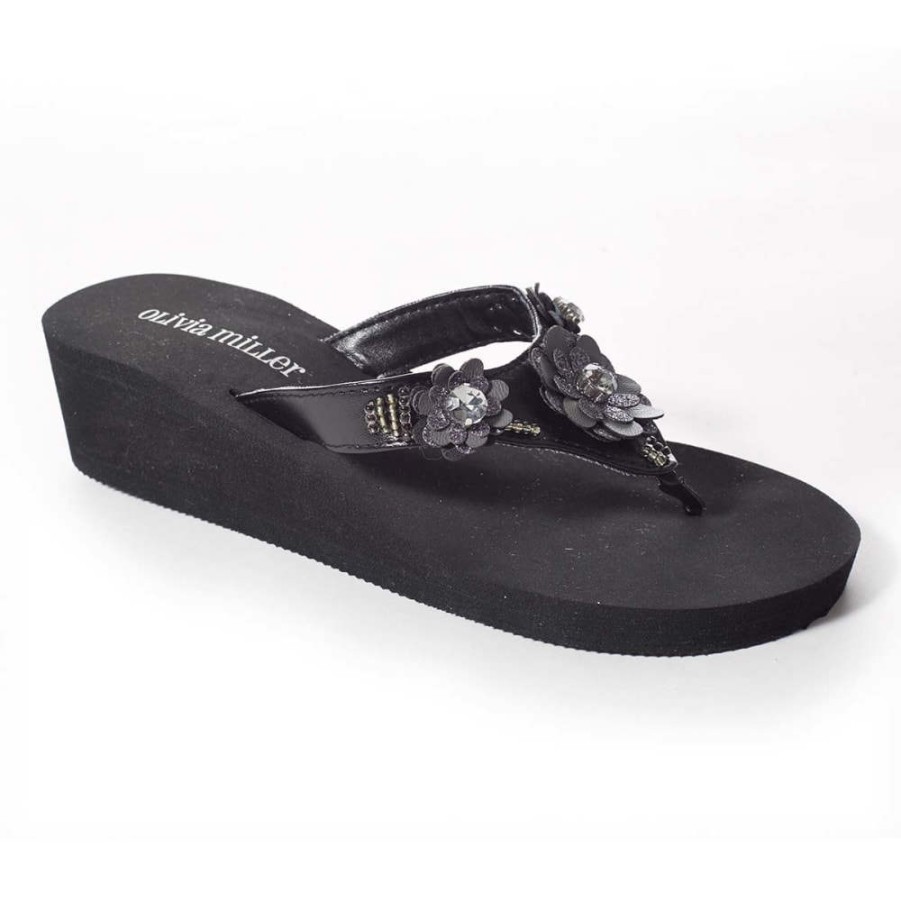 OLIVIA MILLER Juniors' Floral Gem Wedges - BLACK