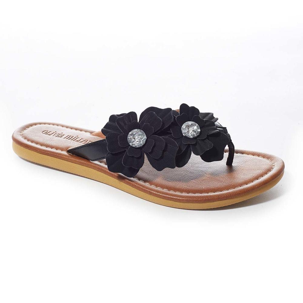 OLIVIA MILLER Juniors' Floral Gem Thongs - BLACK
