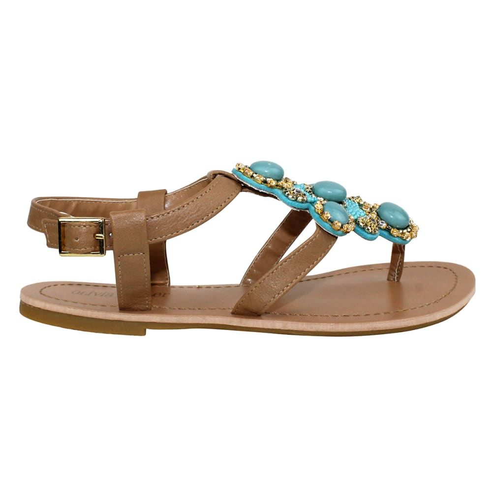 OLIVIA MILLER Women's Beaded Flat Sandals - TURQUOISE