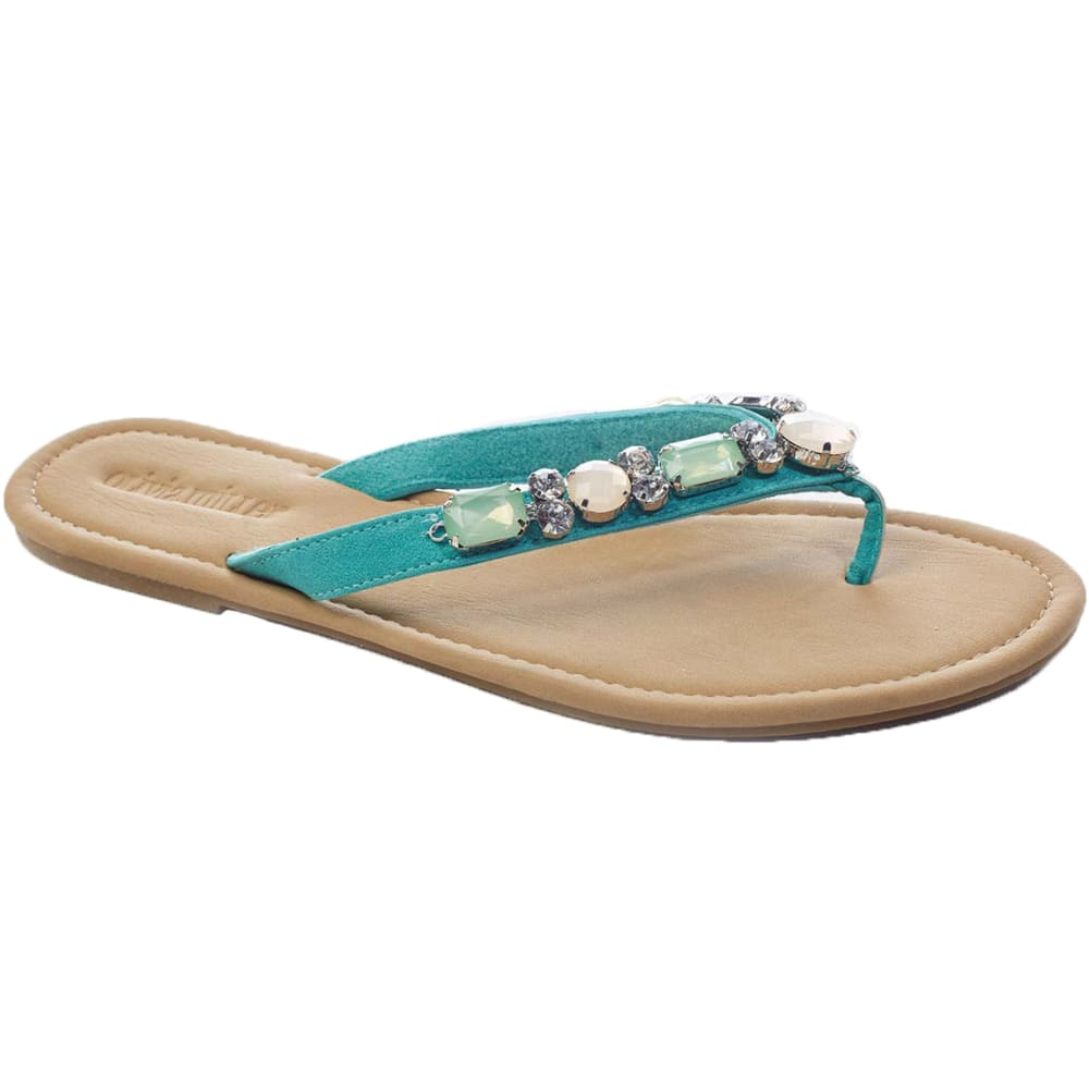 OLIVIA MILLER Juniors' Jeweled Thongs - MINT