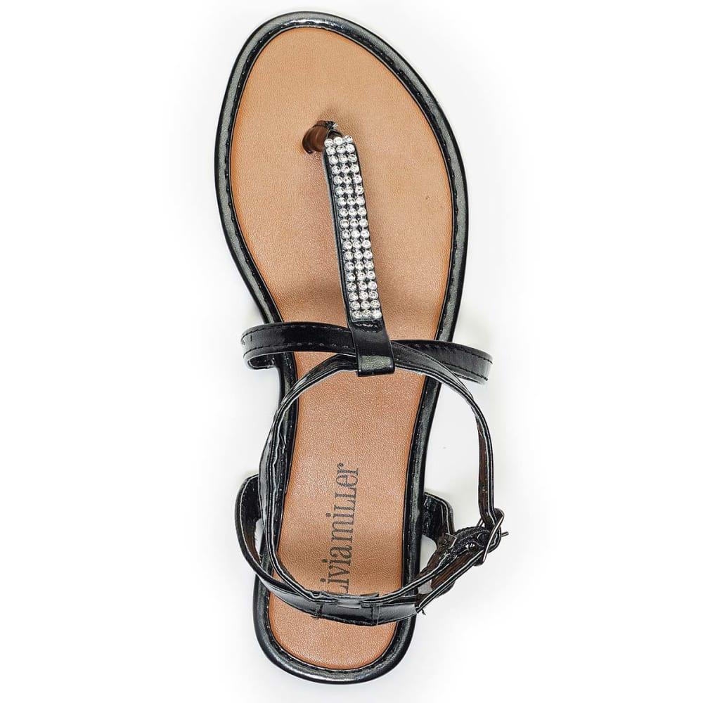 OLIVIA MILLER Juniors' Gladiator Rhinestone Sandals - BLACK