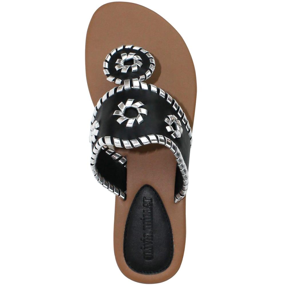 OLIVIA MILLER Juniors' Whipstitch Thongs - BLACK