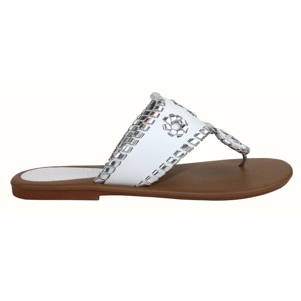 OLIVIA MILLER Juniors' Whipstitch Thongs - WHITE