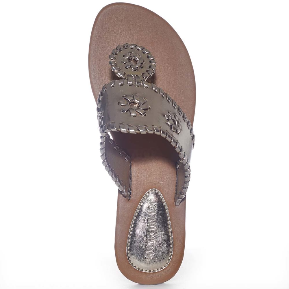 OLIVIA MILLER Juniors' Whipstitch Thongs - CHAMPAGNE