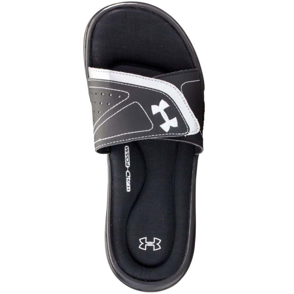 UNDER ARMOUR Women's Ignite VII Slide Sandals - BLACK/WHITE-001