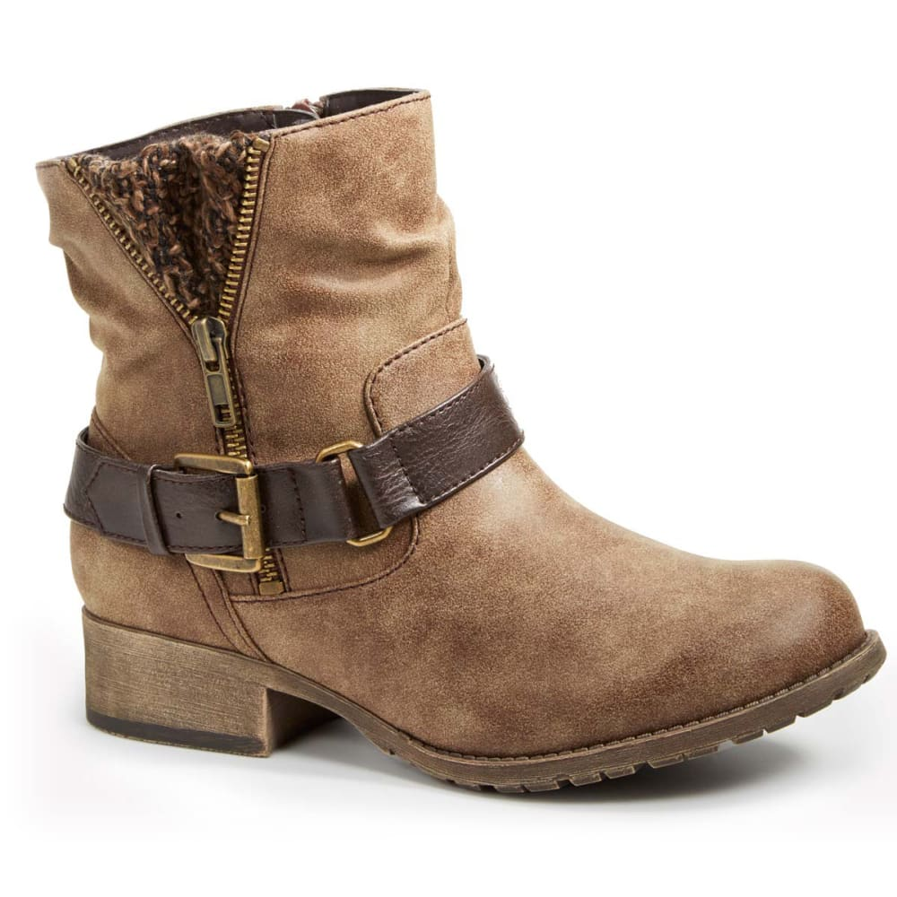 JELLYPOP Juniors' Rosalie Distressed Sweater Buckle Bootie Boots - BROWN-JKD6ES262