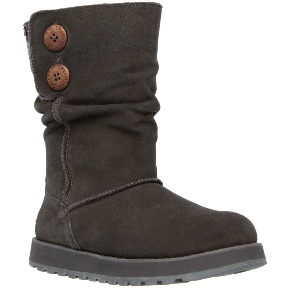 SKECHERS Juniors' Keepsakes Freezing Temps Button Slouch Boots - CHARCOAL