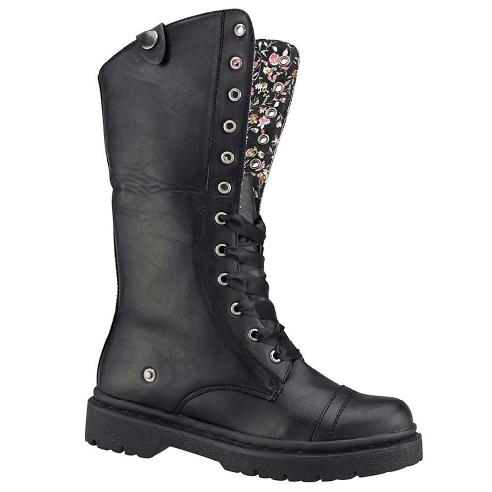 Soda Junior's Averi Black/Floral Folded Combat Boot - BLACK