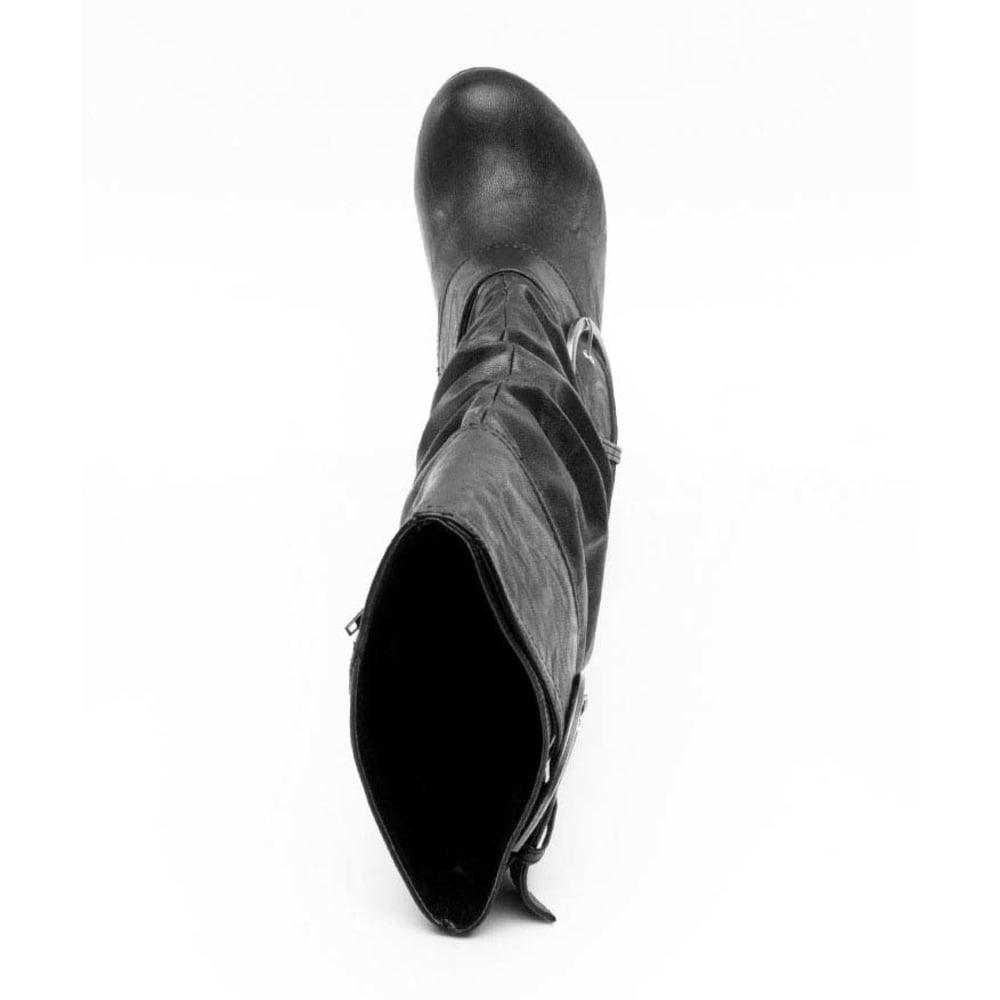 UNIONBAY Juniors' Rachel Double Buckle Wedge Boots - BLACK