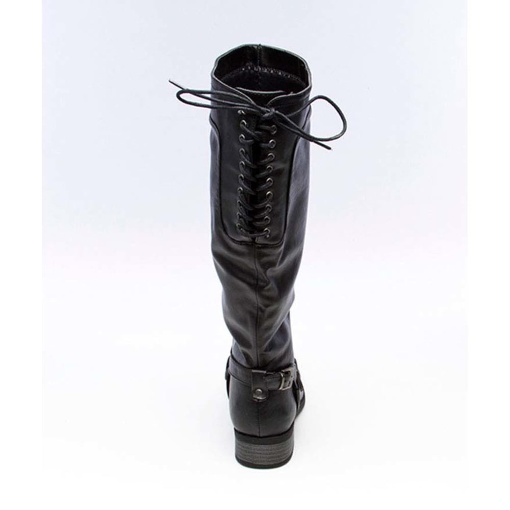 XOXO Juniors' Marygold Back Lace-Up Riding Boots - BLACK