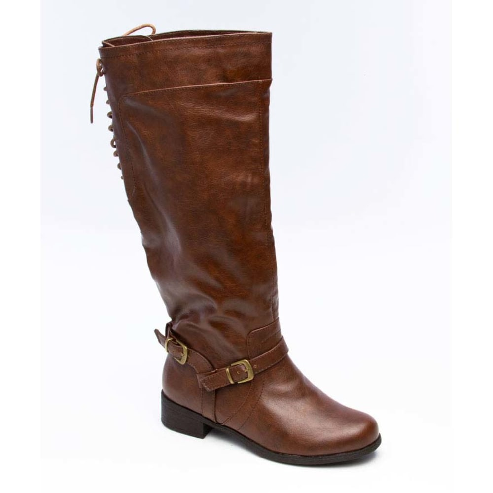 XOXO Juniors' Marygold Back Lace Riding Boots - BROWN