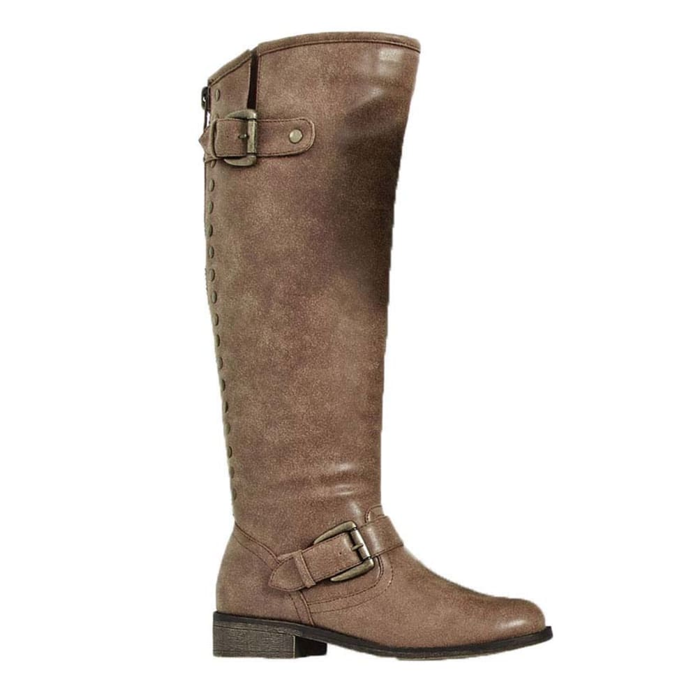 MADDEN GIRL Juniors' Cactus Distressed Studs Riding Boots - COGNAC