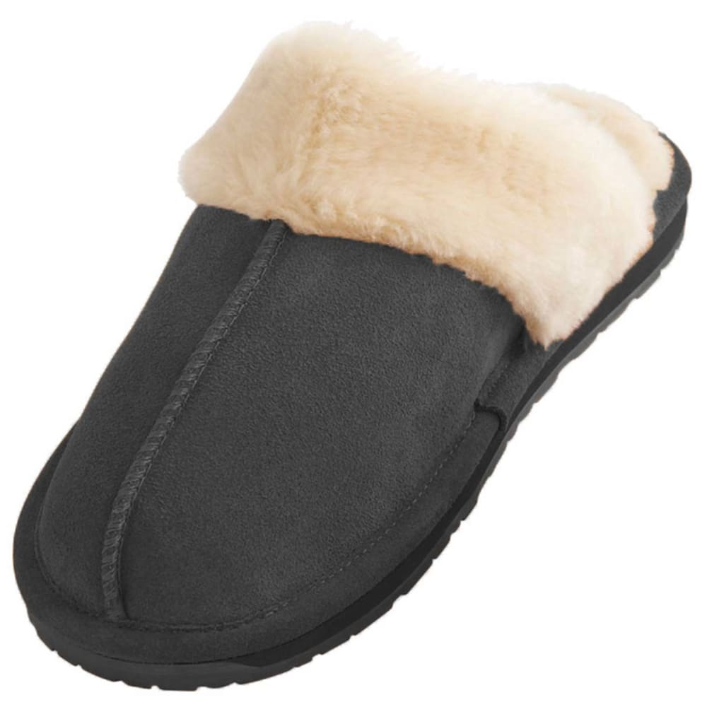 MINNETONKA Juniors' Selena Suede Slippers - CHARCOAL