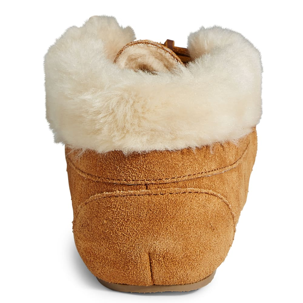 MINNETONKA Women's Junior Tie Booties - CINNAMON/CREAM