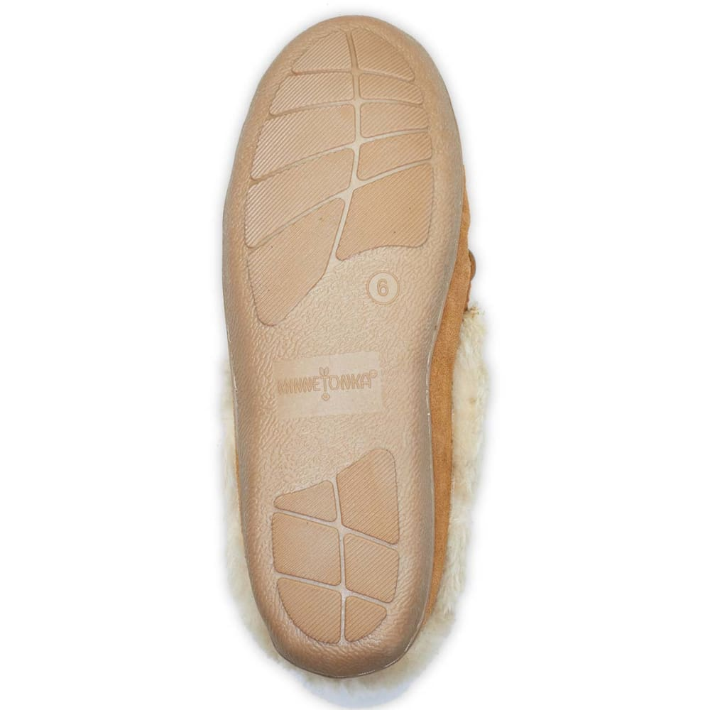 MINNETONKA Juniors' Tessa Fold Over Moccasins - CINNAMON- 40631