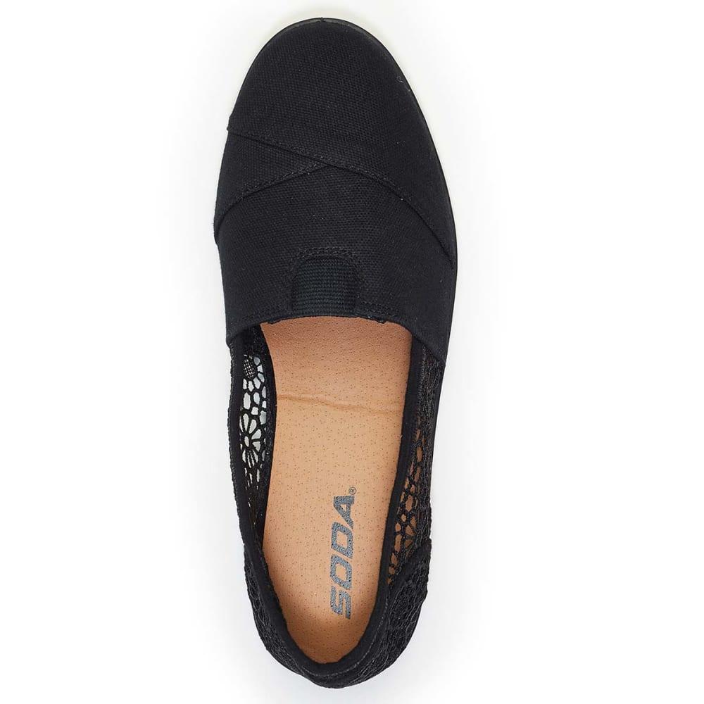 SODA Juniors' Koger Crochet Canvas Shoes - BLACK