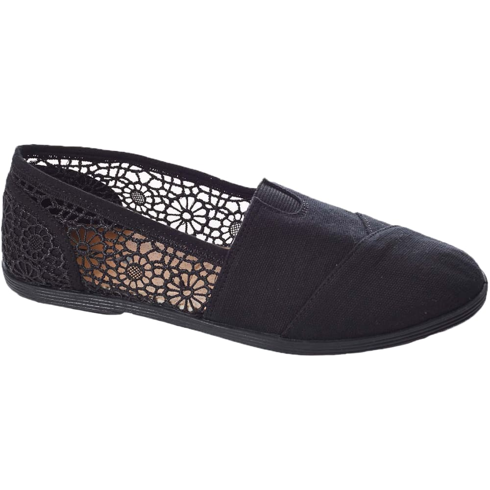 SODA Juniors' Koger Crochet Canvas Shoes - BLACK