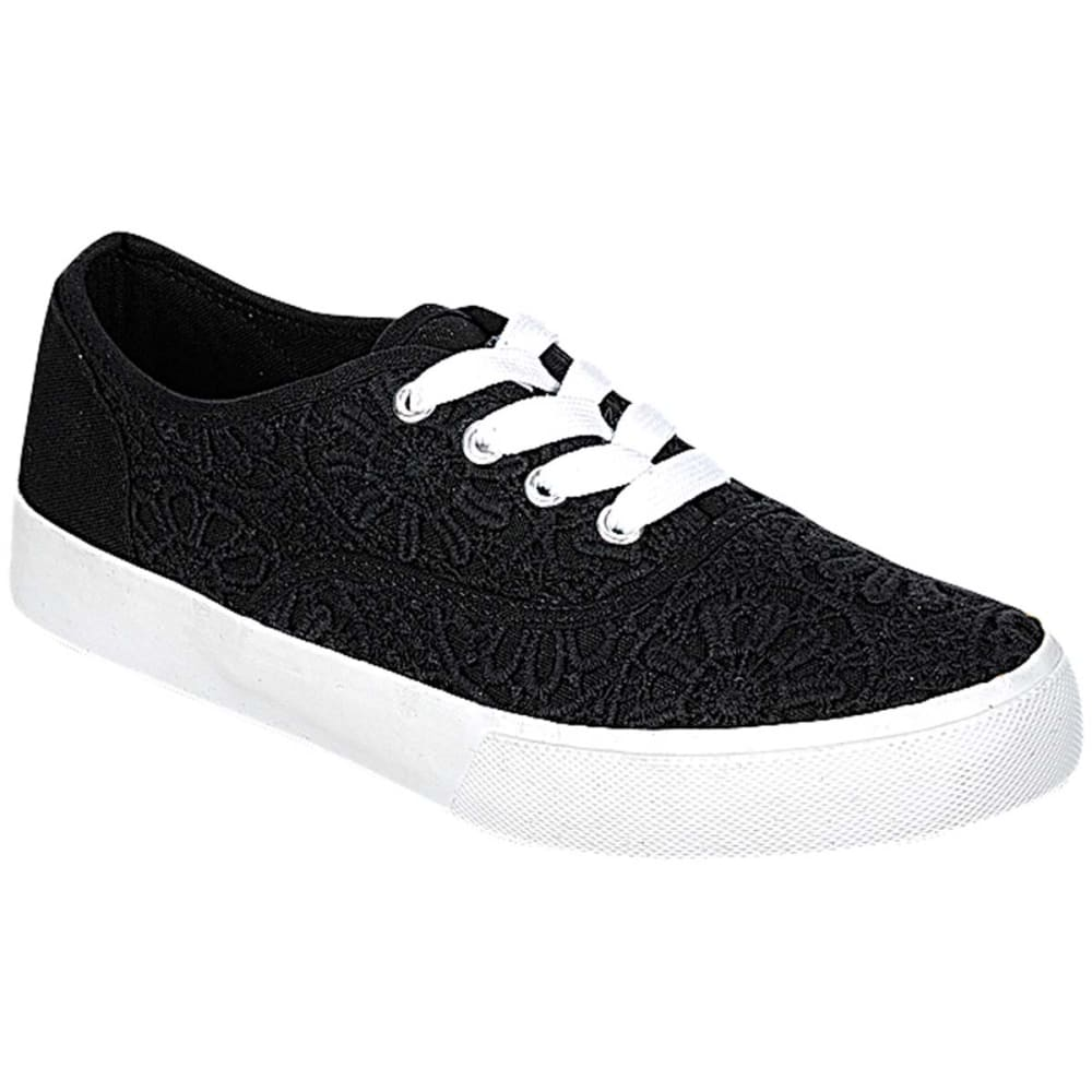 SODA Juniors' Crochet Vulcanized Lace-Up Shoes - BLACK
