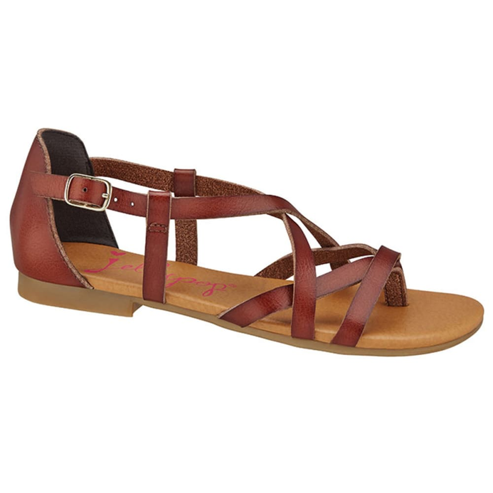 JELLYPOP Juniors' Nice Strappy Flat Sandals - BROWN