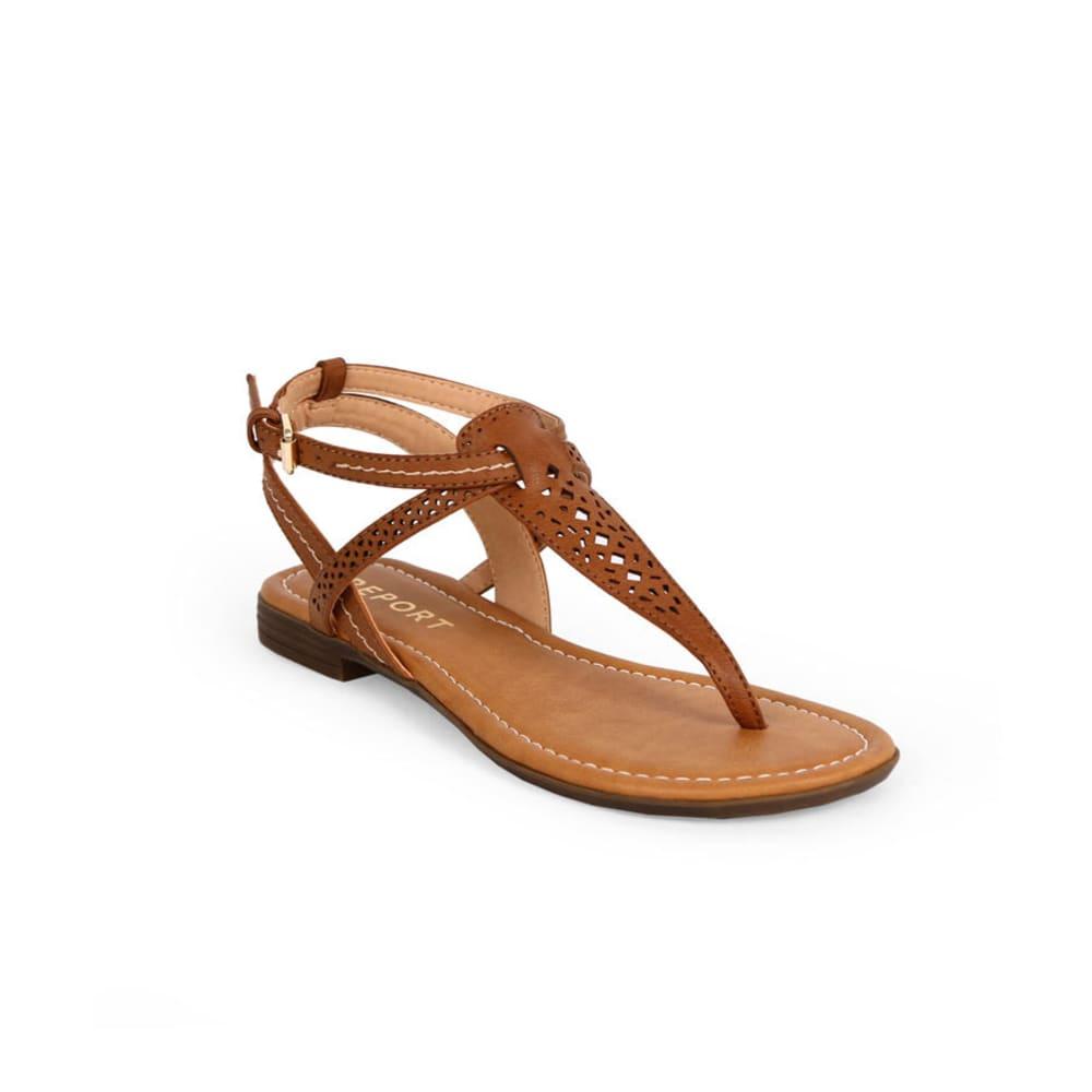 REPORT Juniors' Kia Perforated T-Strap Sandals - TAN