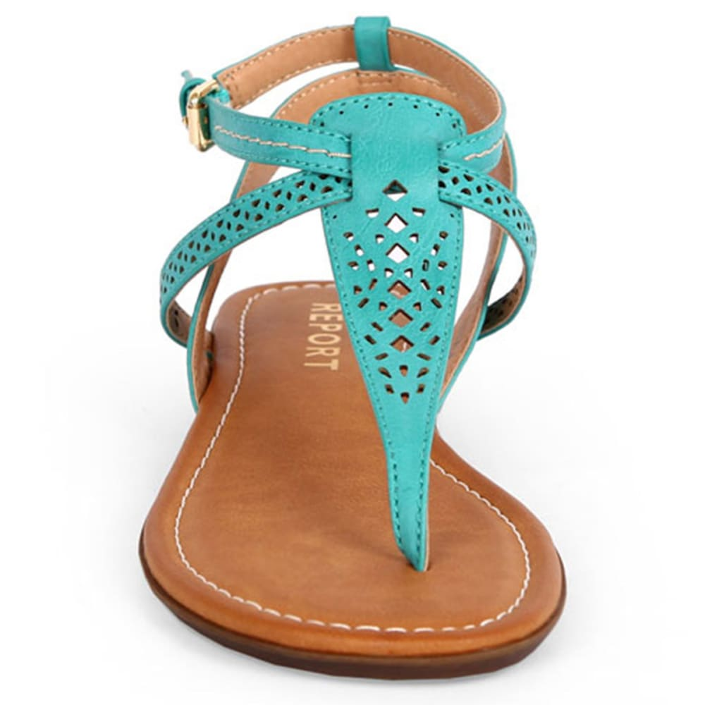 REPORT Juniors' Kia Perforated T-Strap Sandals - TURQUOISE